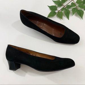 Vintage Coach 8 Black Suede Diana Pumps Block Heel